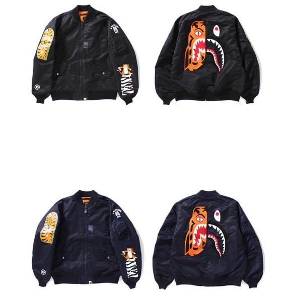 15005852 Bape Jackets & Coats | A Bathing Ape Tiger Shark Collection Bomber ...
